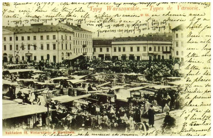 Plac Żelaznej Bramy w XIX wieku. Po lewej stronie jeszcze nie przebudowana kamienica nr 8