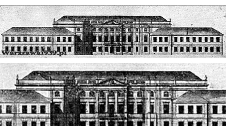 Pałac Sapiehów po przebudowie na koszary. Ok. 1824 r.