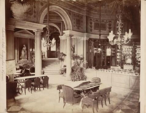 Hotel Europejski. Wnętrze kawiarni LOURSE. Zdjęcie z zasobów Mazowieckiej Biblioteki Cyfrowej