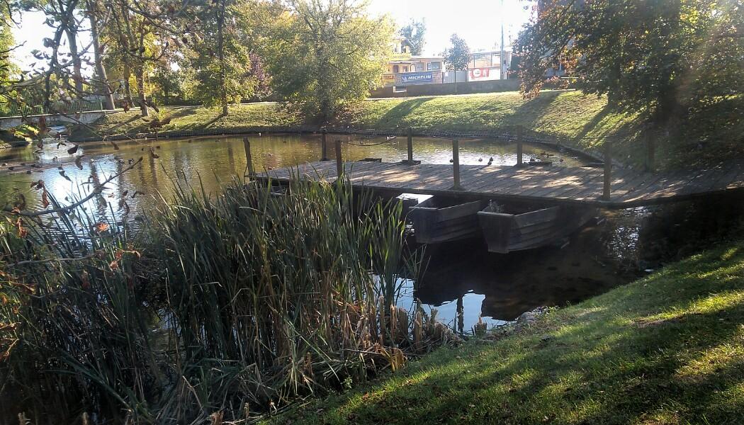 Kozienice. Replika fragmentu mostu łyżwowego Jagiełły