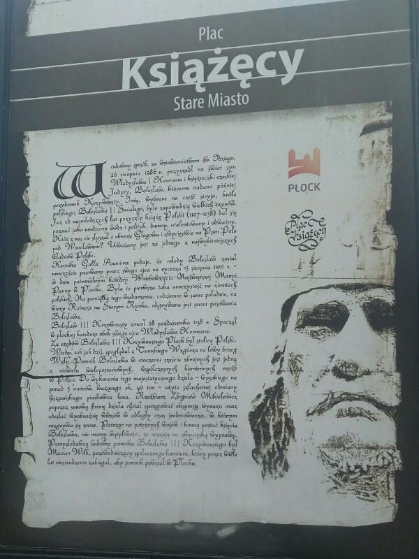 Tablica informacyjna na Placu Książęcym w Płocku