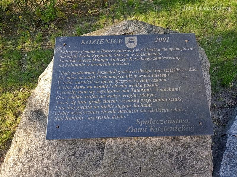 Kozienice. Tablica informacyjna przy obelisku