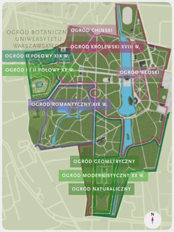 Łazienki Królewskie. Plan ogrodów